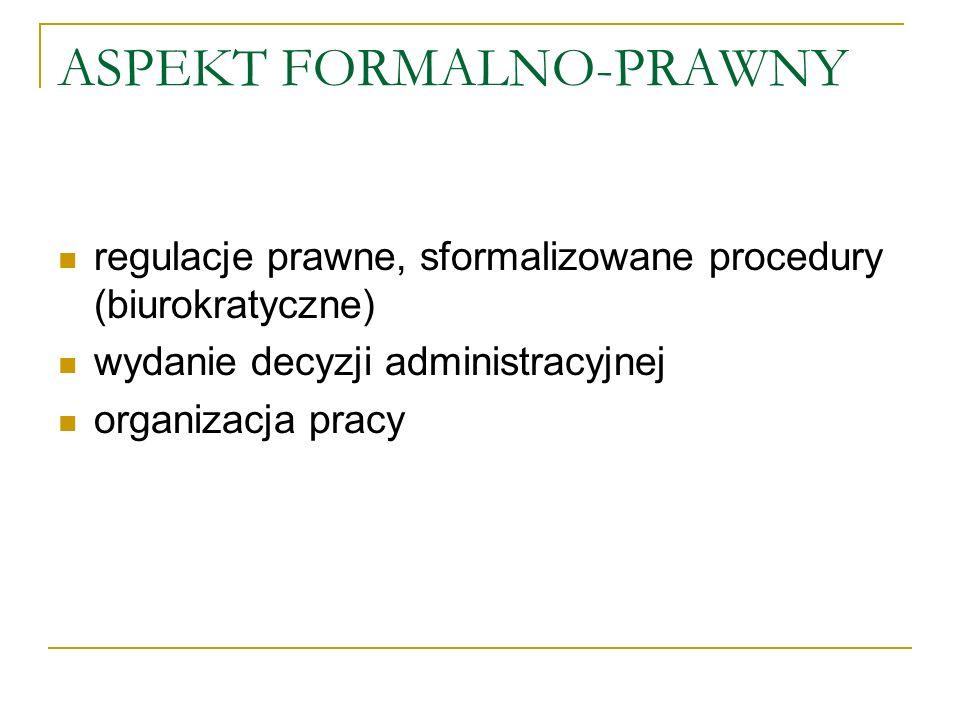 ASPEKT FORMALNO-PRAWNY regulacje prawne, sformalizowane procedury (biurokratyczne) wydanie decyzji administracyjnej organizacja pracy