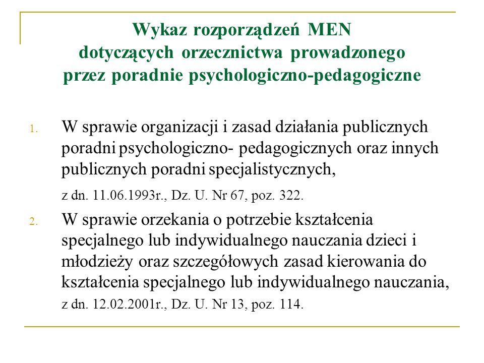 Wykaz rozporządzeń MEN dotyczących orzecznictwa prowadzonego przez poradnie psychologiczno-pedagogiczne 1. W sprawie organizacji i zasad działania pub