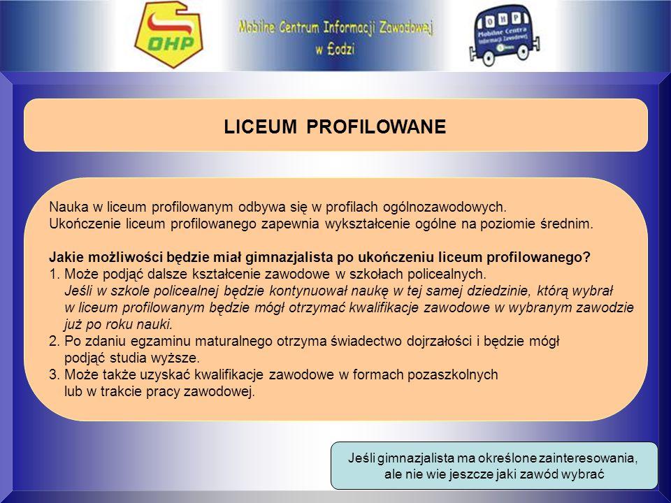 LICEUM PROFILOWANE Nauka w liceum profilowanym odbywa się w profilach ogólnozawodowych. Ukończenie liceum profilowanego zapewnia wykształcenie ogólne