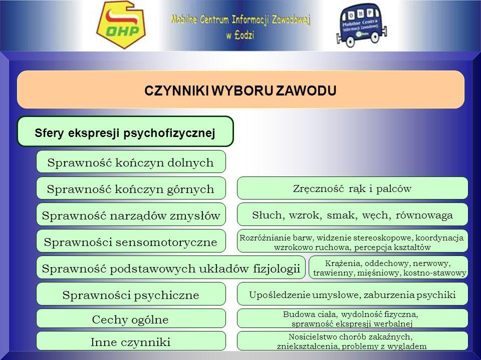 CZYNNIKI WYBORU ZAWODU Sfery ekspresji psychofizycznej Sprawność kończyn dolnych Sprawność kończyn górnych Sprawność narządów zmysłów Sprawności senso