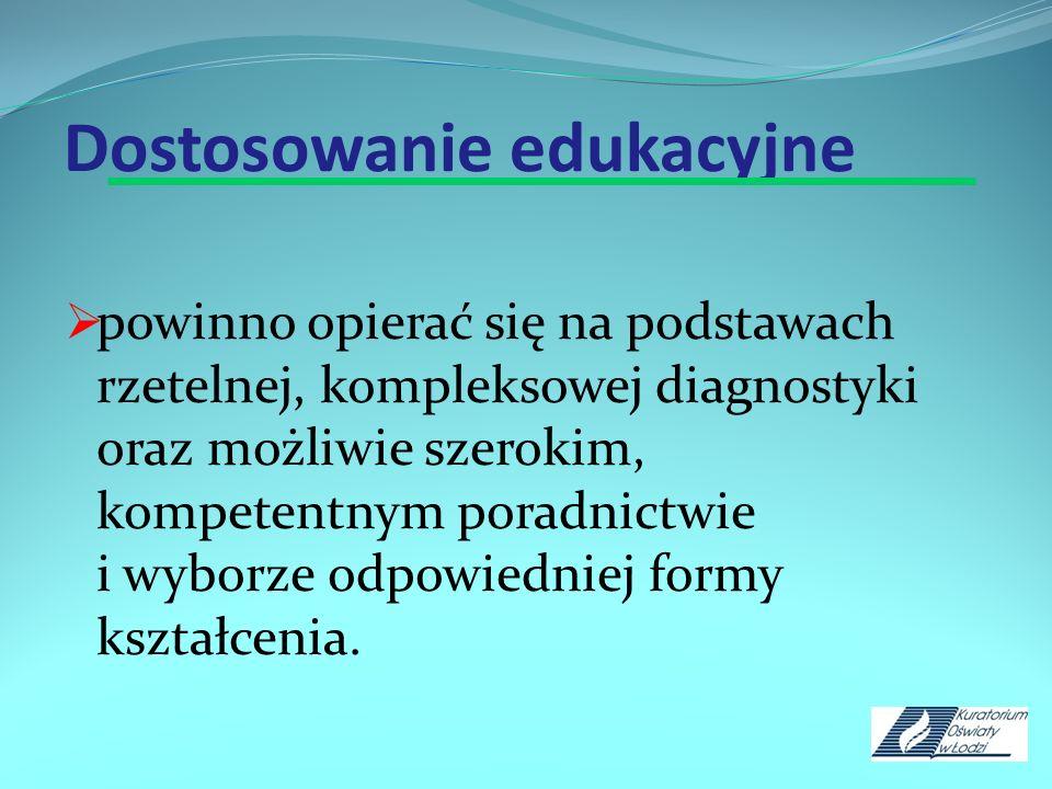 Dostosowanie edukacyjne powinno opierać się na podstawach rzetelnej, kompleksowej diagnostyki oraz możliwie szerokim, kompetentnym poradnictwie i wybo