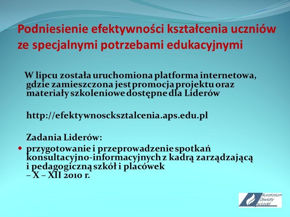 Podniesienie efektywności kształcenia uczniów ze specjalnymi potrzebami edukacyjnymi W lipcu została uruchomiona platforma internetowa, gdzie zamieszc