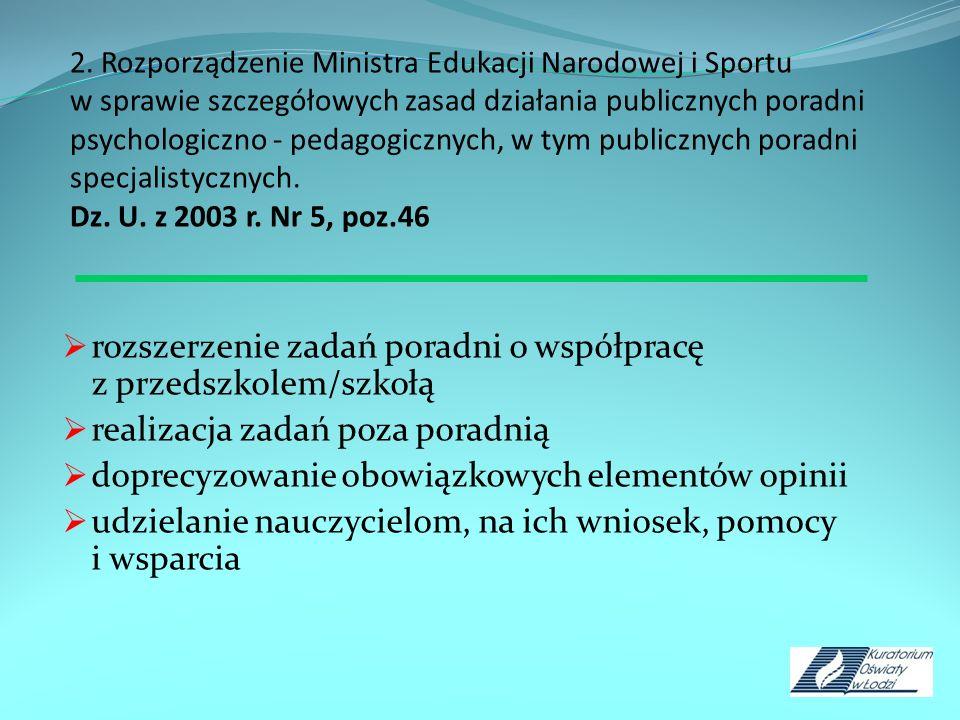 2. Rozporządzenie Ministra Edukacji Narodowej i Sportu w sprawie szczegółowych zasad działania publicznych poradni psychologiczno - pedagogicznych, w