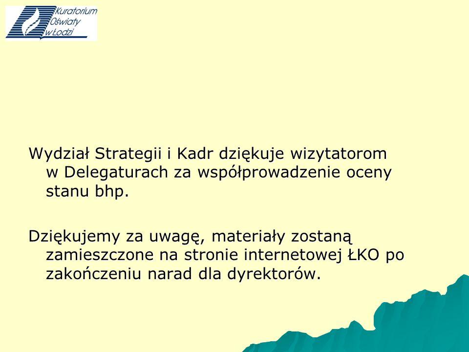 Wydział Strategii i Kadr dziękuje wizytatorom w Delegaturach za współprowadzenie oceny stanu bhp.