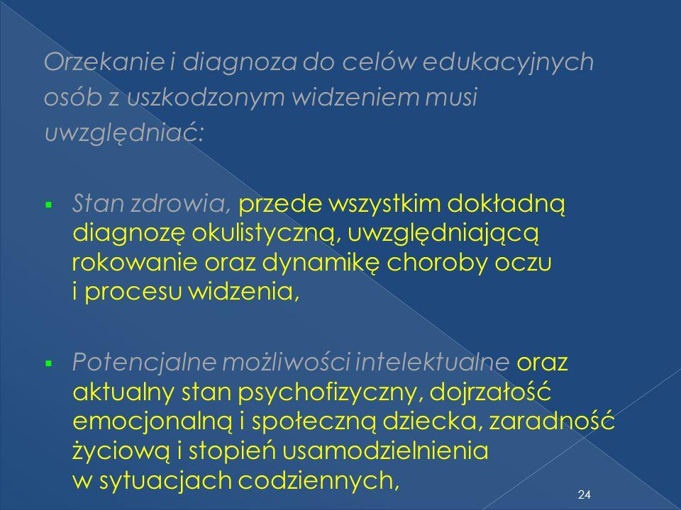 24 Orzekanie i diagnoza do celów edukacyjnych osób z uszkodzonym widzeniem musi uwzględniać: Stan zdrowia, przede wszystkim dokładną diagnozę okulistyczną, uwzględniającą rokowanie oraz dynamikę choroby oczu i procesu widzenia, Potencjalne możliwości intelektualne oraz aktualny stan psychofizyczny, dojrzałość emocjonalną i społeczną dziecka, zaradność życiową i stopień usamodzielnienia w sytuacjach codziennych,