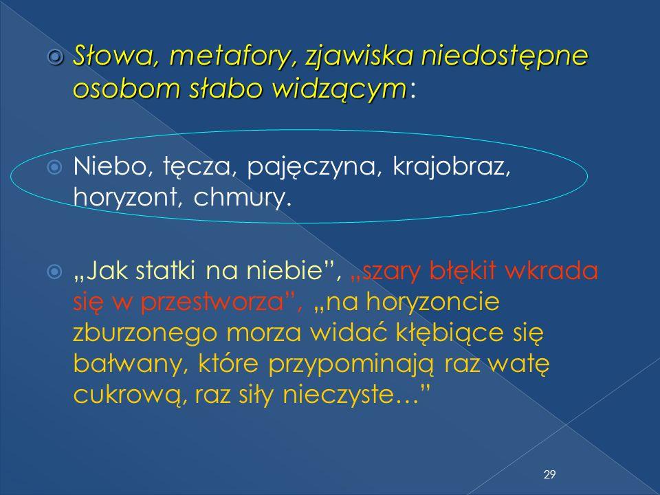 29 Słowa, metafory, zjawiska niedostępne osobom słabo widzącym Słowa, metafory, zjawiska niedostępne osobom słabo widzącym: Niebo, tęcza, pajęczyna, krajobraz, horyzont, chmury.