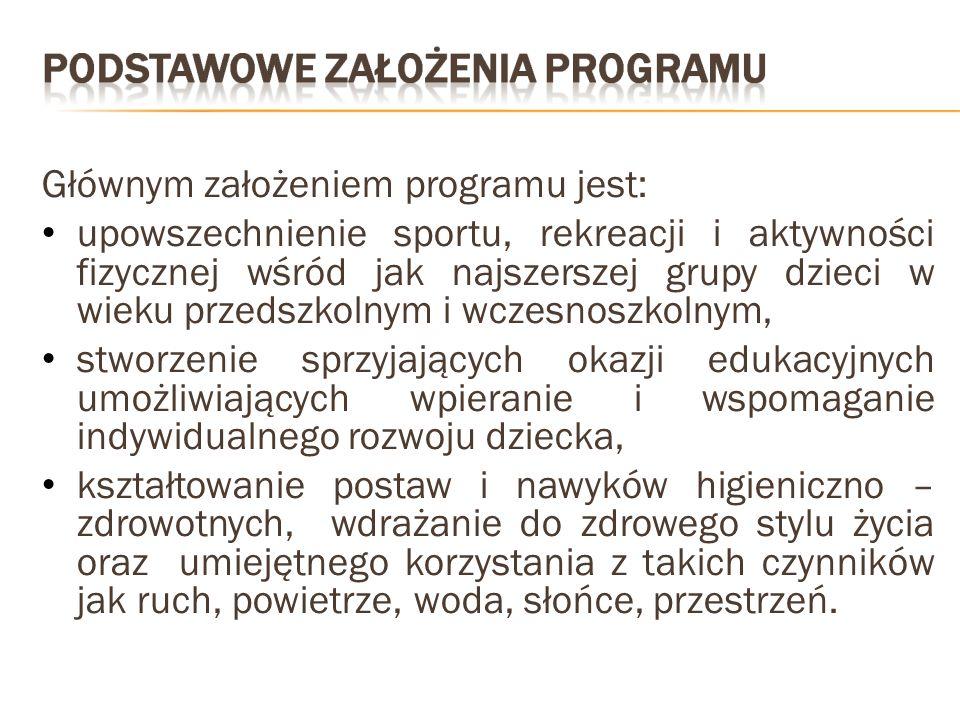 Głównym założeniem programu jest: upowszechnienie sportu, rekreacji i aktywności fizycznej wśród jak najszerszej grupy dzieci w wieku przedszkolnym i