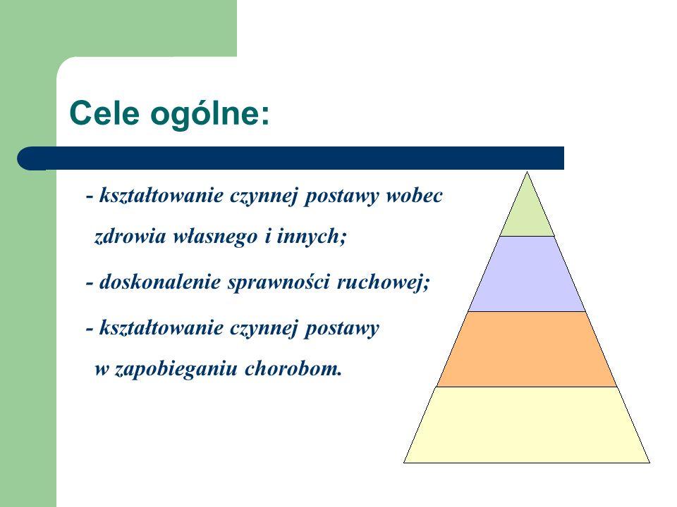 Cele ogólne: - kształtowanie czynnej postawy wobec zdrowia własnego i innych; - doskonalenie sprawności ruchowej; - kształtowanie czynnej postawy w za