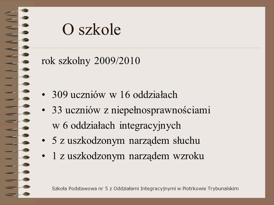 O szkole rok szkolny 2009/2010 309 uczniów w 16 oddziałach 33 uczniów z niepełnosprawnościami w 6 oddziałach integracyjnych 5 z uszkodzonym narządem s