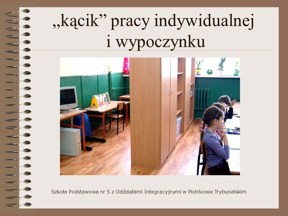 kącik pracy indywidualnej i wypoczynku Szkoła Podstawowa nr 5 z Oddziałami Integracyjnymi w Piotrkowie Trybunalskim