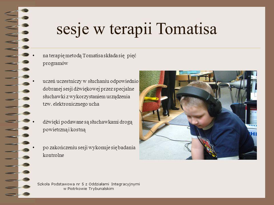 na terapię metodą Tomatisa składa się pięć programów uczeń uczestniczy w słuchaniu odpowiednio dobranej sesji dźwiękowej przez specjalne słuchawki z w