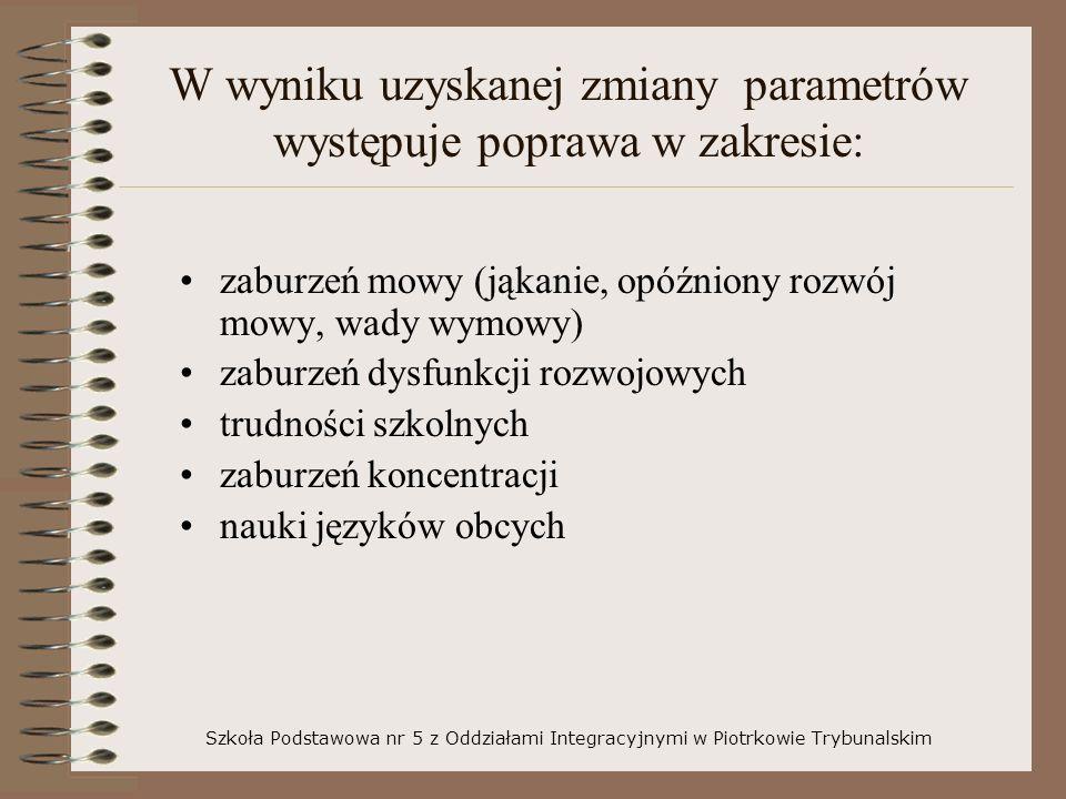 W wyniku uzyskanej zmiany parametrów występuje poprawa w zakresie: zaburzeń mowy (jąkanie, opóźniony rozwój mowy, wady wymowy) zaburzeń dysfunkcji roz