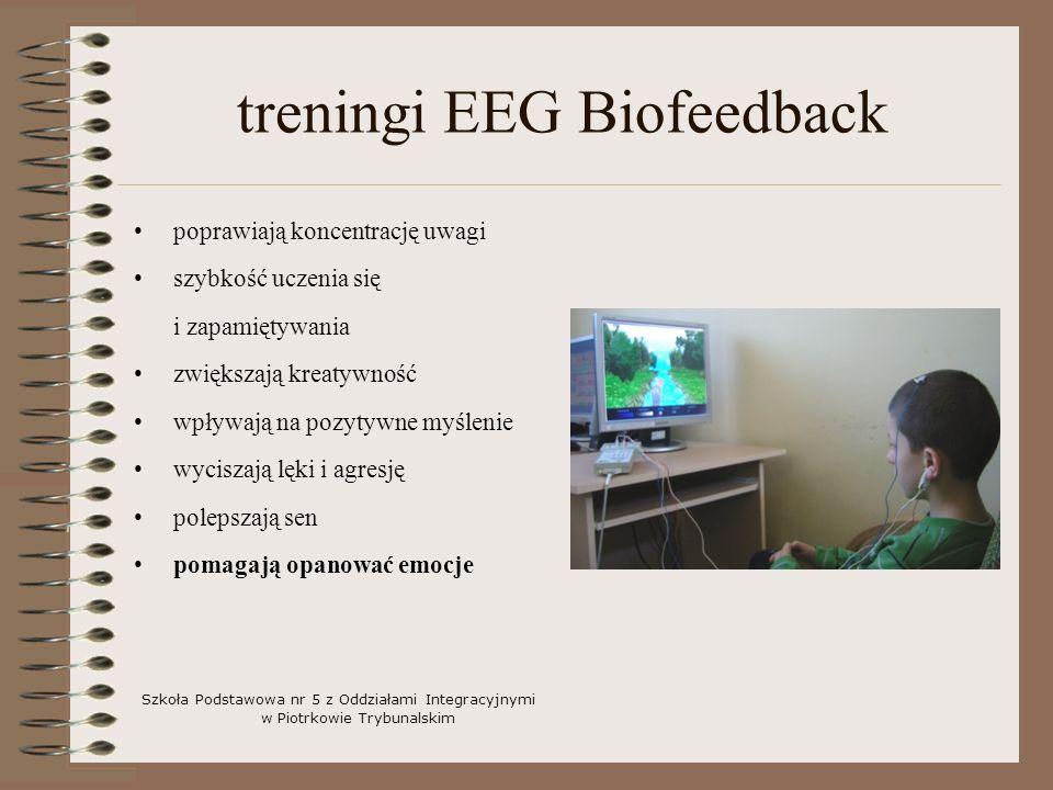 treningi EEG Biofeedback poprawiają koncentrację uwagi szybkość uczenia się i zapamiętywania zwiększają kreatywność wpływają na pozytywne myślenie wyciszają lęki i agresję polepszają sen pomagają opanować emocje Szkoła Podstawowa nr 5 z Oddziałami Integracyjnymi w Piotrkowie Trybunalskim