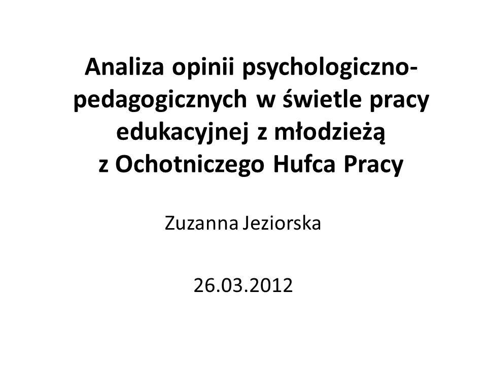 Analiza opinii psychologiczno- pedagogicznych w świetle pracy edukacyjnej z młodzieżą z Ochotniczego Hufca Pracy Zuzanna Jeziorska 26.03.2012