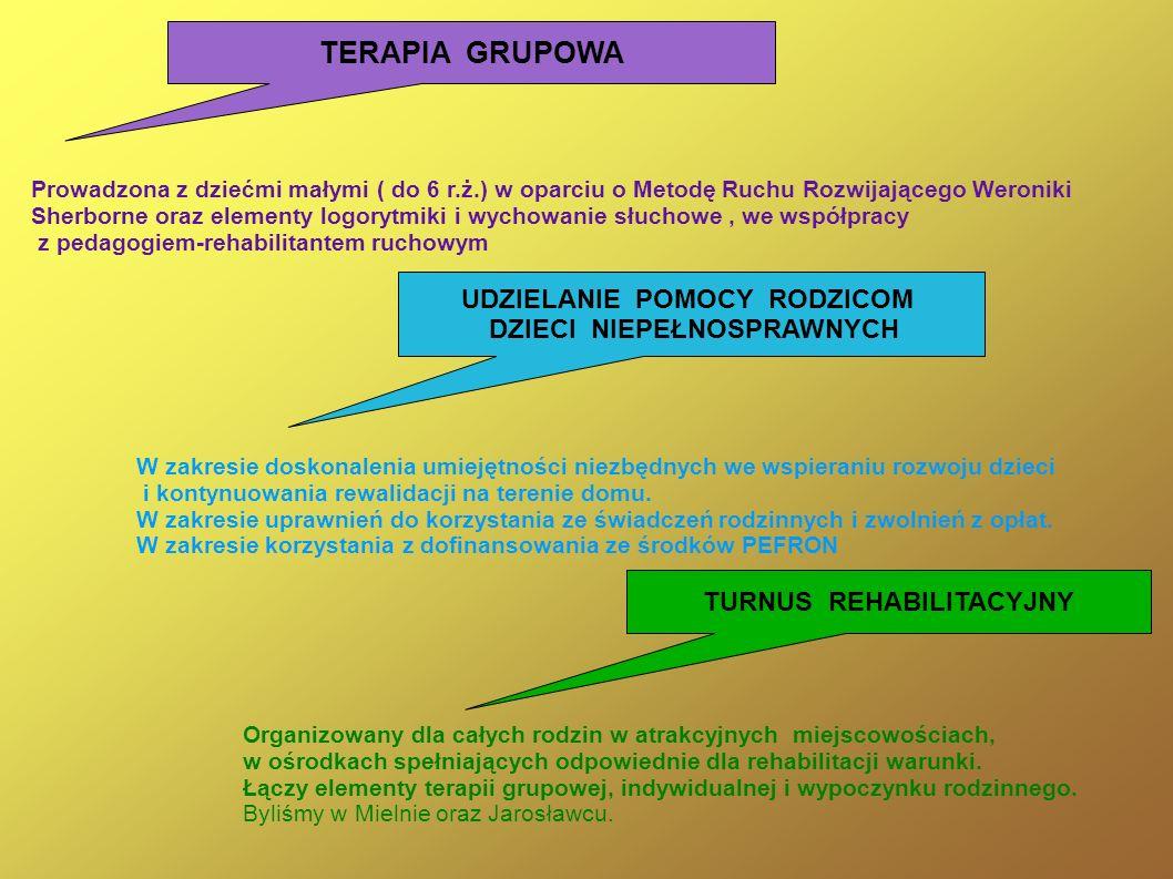 TERAPIA GRUPOWA Prowadzona z dziećmi małymi ( do 6 r.ż.) w oparciu o Metodę Ruchu Rozwijającego Weroniki Sherborne oraz elementy logorytmiki i wychowa