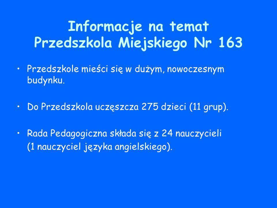Informacje na temat Przedszkola Miejskiego Nr 163 Przedszkole mieści się w dużym, nowoczesnym budynku. Do Przedszkola uczęszcza 275 dzieci (11 grup).