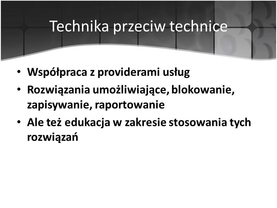 Technika przeciw technice Współpraca z providerami usług Rozwiązania umożliwiające, blokowanie, zapisywanie, raportowanie Ale też edukacja w zakresie