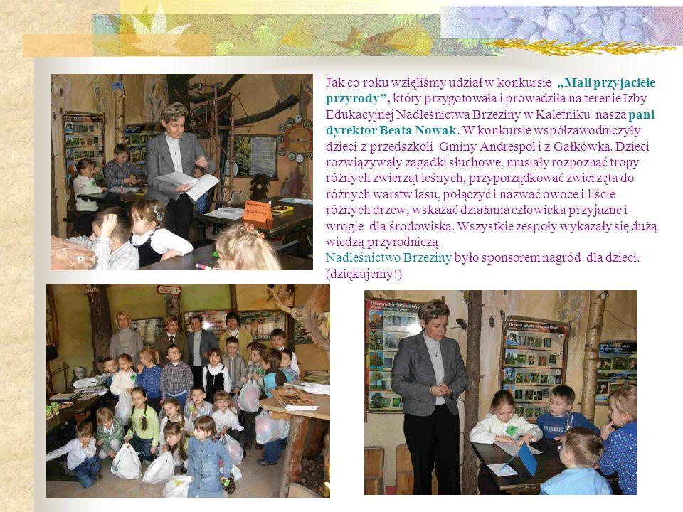 Jak co roku wzięliśmy udział w konkursie Mali przyjaciele przyrody, który przygotowała i prowadziła na terenie Izby Edukacyjnej Nadleśnictwa Brzeziny