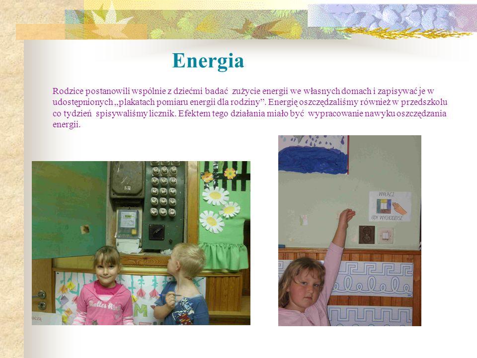 Energia Rodzice postanowili wspólnie z dziećmi badać zużycie energii we własnych domach i zapisywać je w udostępnionych plakatach pomiaru energii dla