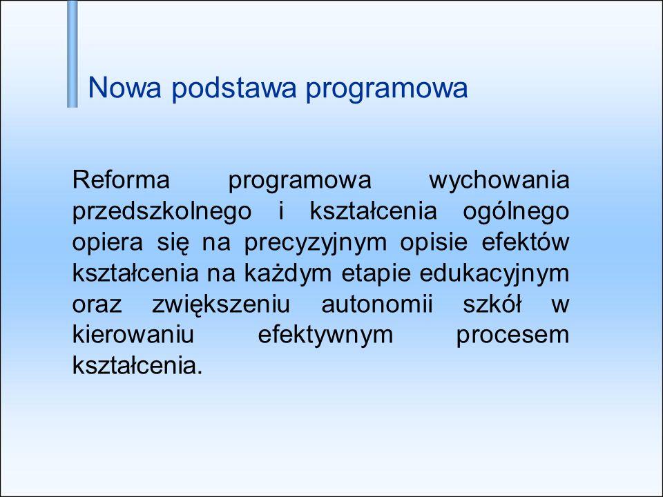 Nowa podstawa programowa Reforma programowa wychowania przedszkolnego i kształcenia ogólnego opiera się na precyzyjnym opisie efektów kształcenia na k