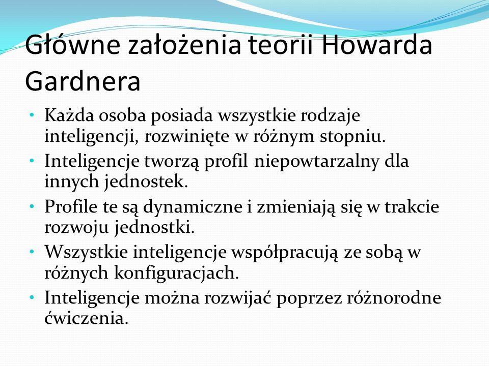 Główne założenia teorii Howarda Gardnera Każda osoba posiada wszystkie rodzaje inteligencji, rozwinięte w różnym stopniu.