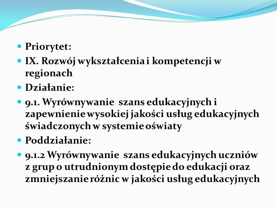 Priorytet: IX.Rozwój wykształcenia i kompetencji w regionach Działanie: 9.1.