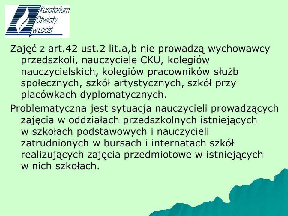 Zajęć z art.42 ust.2 lit.a,b nie prowadzą wychowawcy przedszkoli, nauczyciele CKU, kolegiów nauczycielskich, kolegiów pracowników służb społecznych, s