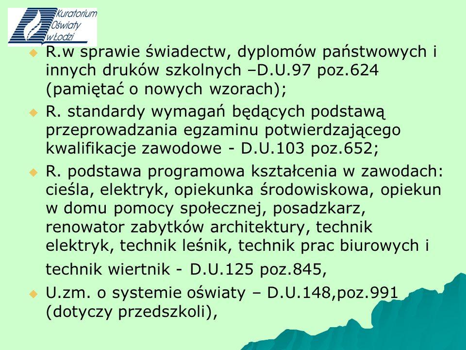 R.w sprawie świadectw, dyplomów państwowych i innych druków szkolnych –D.U.97 poz.624 (pamiętać o nowych wzorach); R. standardy wymagań będących podst