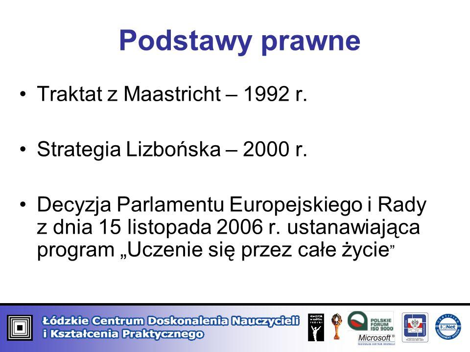Podstawy prawne Traktat z Maastricht – 1992 r. Strategia Lizbońska – 2000 r. Decyzja Parlamentu Europejskiego i Rady z dnia 15 listopada 2006 r. ustan