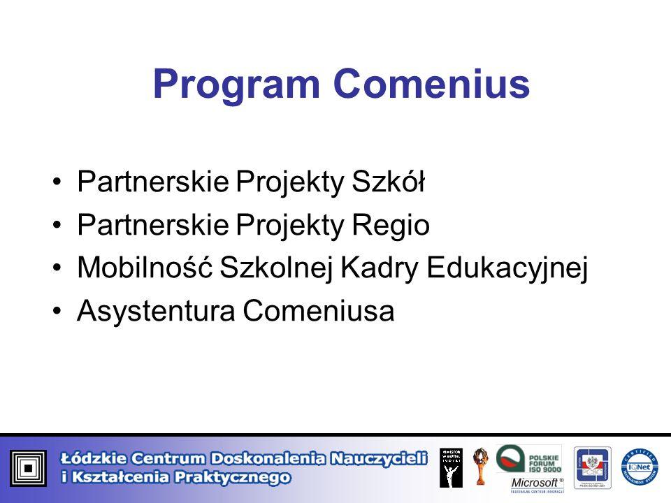 Program Comenius Partnerskie Projekty Szkół Partnerskie Projekty Regio Mobilność Szkolnej Kadry Edukacyjnej Asystentura Comeniusa