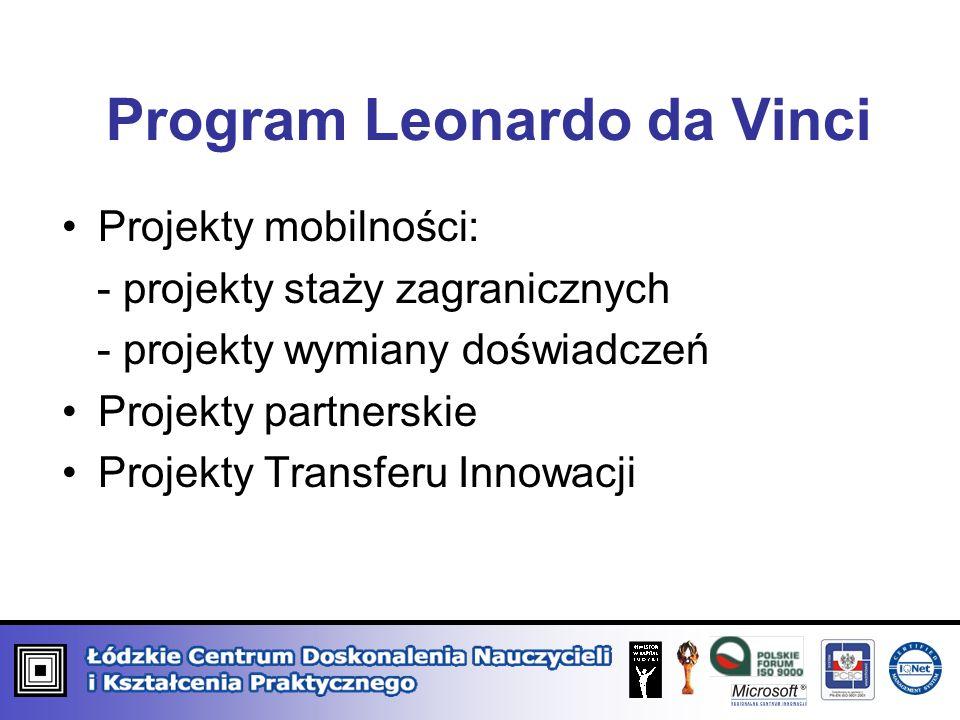 Program Leonardo da Vinci Projekty mobilności: - projekty staży zagranicznych - projekty wymiany doświadczeń Projekty partnerskie Projekty Transferu I