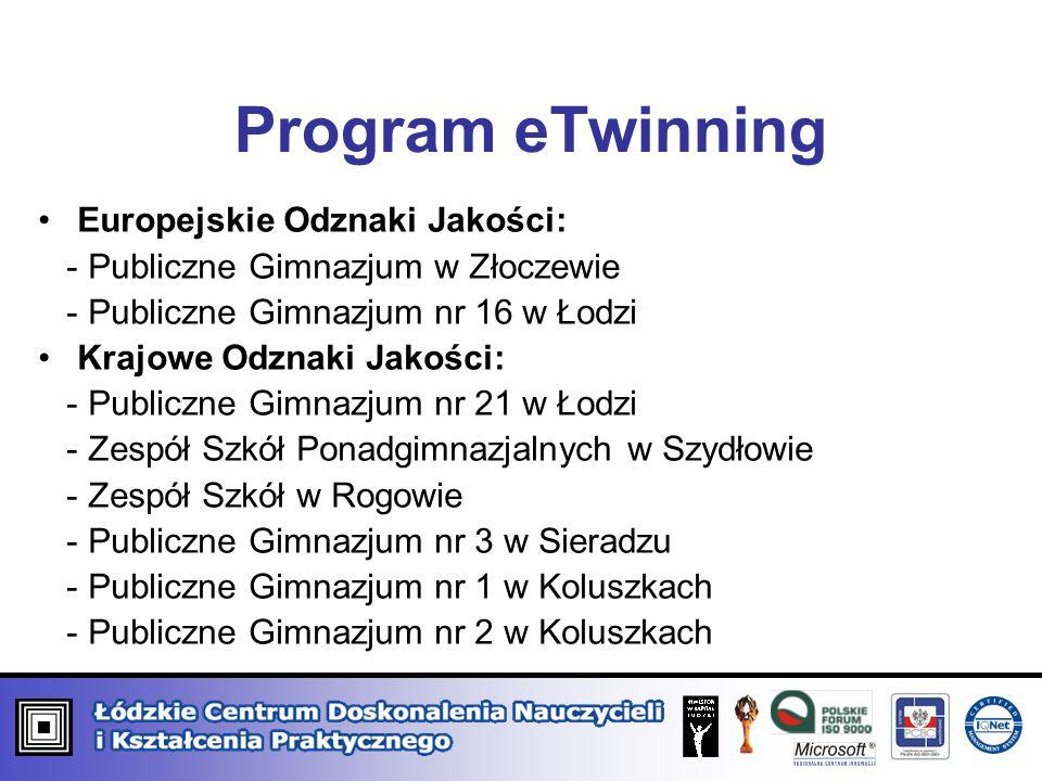 Europejskie Odznaki Jakości: - Publiczne Gimnazjum w Złoczewie - Publiczne Gimnazjum nr 16 w Łodzi Krajowe Odznaki Jakości: - Publiczne Gimnazjum nr 2