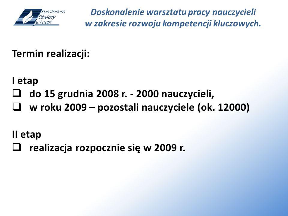 Doskonalenie warsztatu pracy nauczycieli w zakresie rozwoju kompetencji kluczowych. Termin realizacji: I etap do 15 grudnia 2008 r. - 2000 nauczycieli