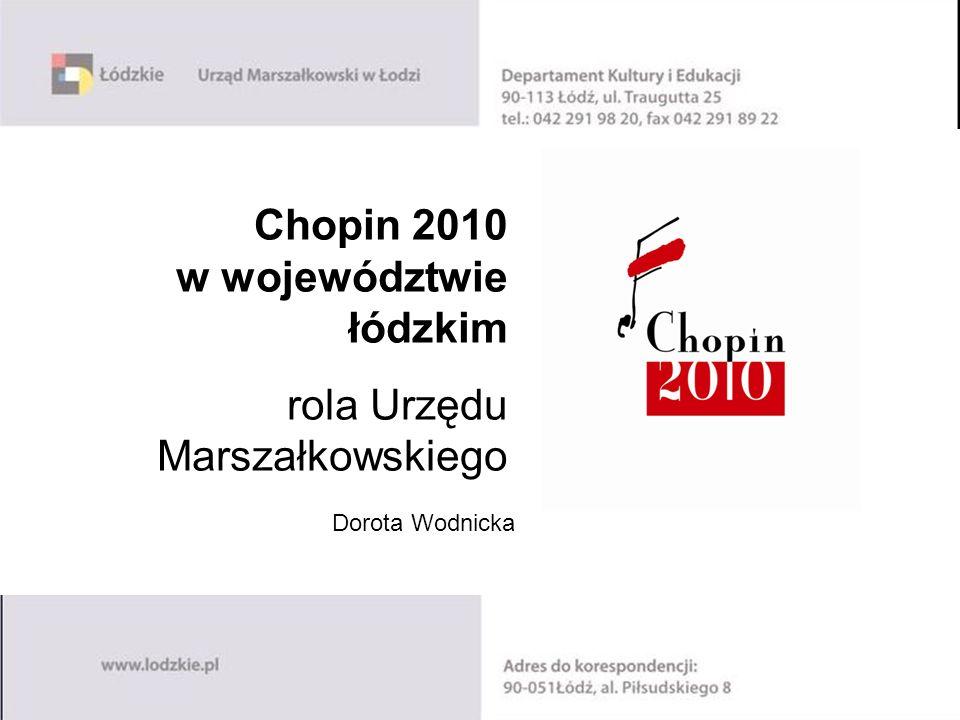 Chopin 2010 w województwie łódzkim rola Urzędu Marszałkowskiego Dorota Wodnicka