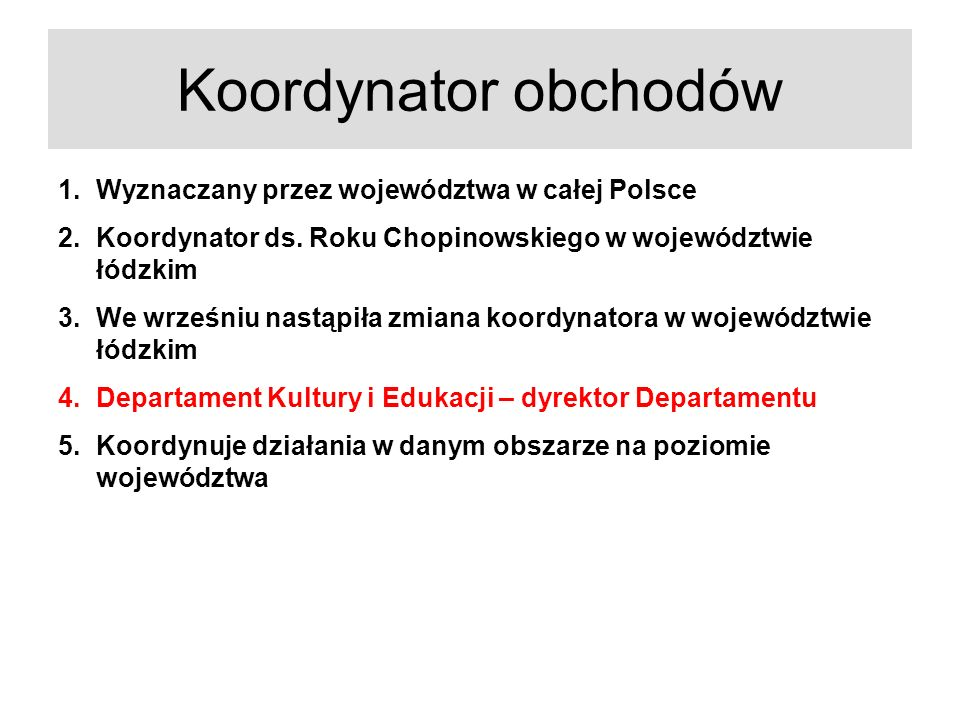 Koordynator obchodów 1.Wyznaczany przez województwa w całej Polsce 2.Koordynator ds. Roku Chopinowskiego w województwie łódzkim 3.We wrześniu nastąpił