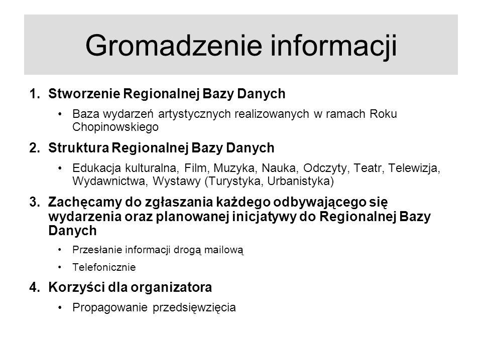 Gromadzenie informacji 1.Stworzenie Regionalnej Bazy Danych Baza wydarzeń artystycznych realizowanych w ramach Roku Chopinowskiego 2.Struktura Regiona