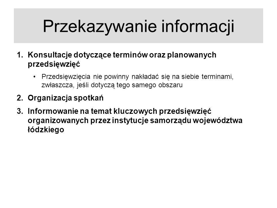 Przekazywanie informacji 1.Konsultacje dotyczące terminów oraz planowanych przedsięwzięć Przedsięwzięcia nie powinny nakładać się na siebie terminami,