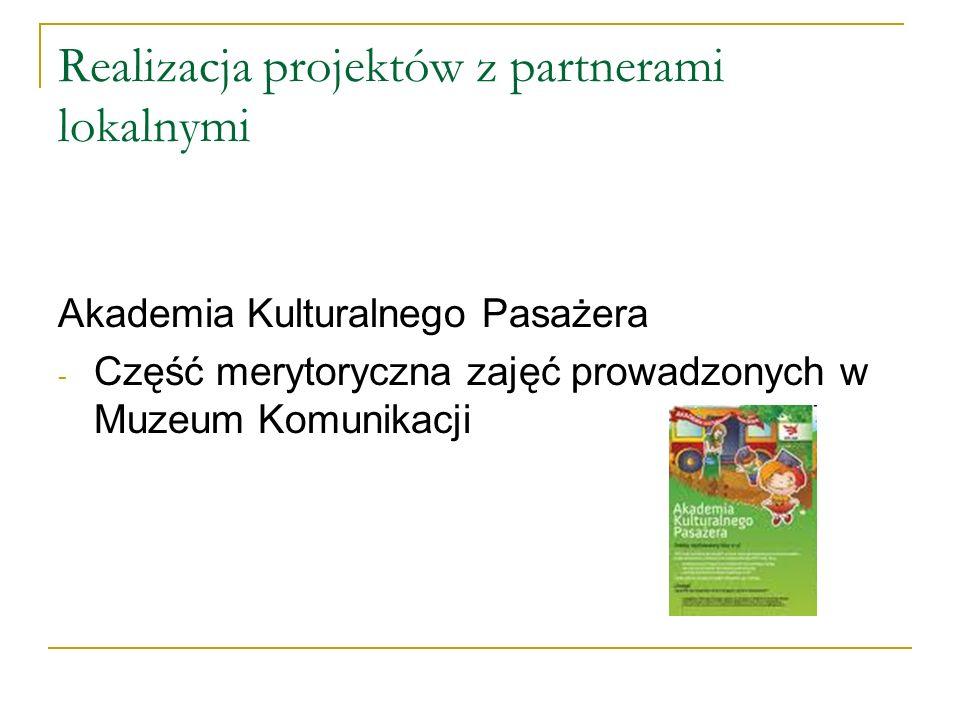 Realizacja projektów z partnerami lokalnymi Akademia Kulturalnego Pasażera - Część merytoryczna zajęć prowadzonych w Muzeum Komunikacji
