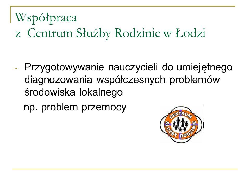Współpraca z Centrum Służby Rodzinie w Łodzi - Przygotowywanie nauczycieli do umiejętnego diagnozowania współczesnych problemów środowiska lokalnego n