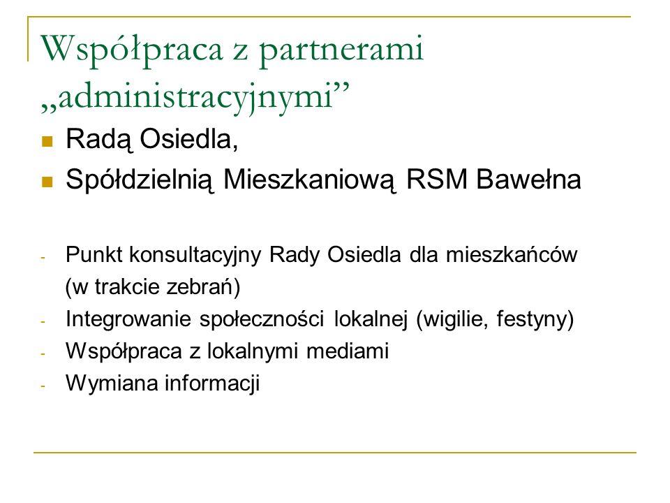 Współpraca z partnerami administracyjnymi Radą Osiedla, Spółdzielnią Mieszkaniową RSM Bawełna - Punkt konsultacyjny Rady Osiedla dla mieszkańców (w trakcie zebrań) - Integrowanie społeczności lokalnej (wigilie, festyny) - Współpraca z lokalnymi mediami - Wymiana informacji