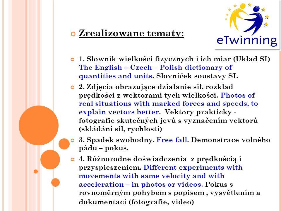 Zrealizowane tematy: 1. Słownik wielkości fizycznych i ich miar (Układ SI) The English – Czech – Polish dictionary of quantities and units. Slovníček