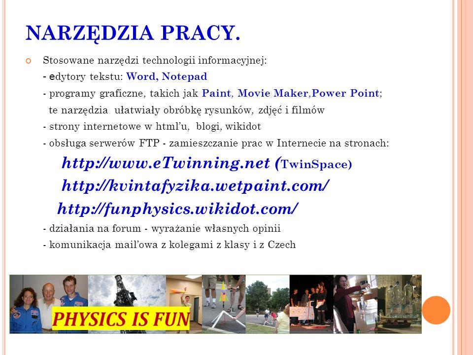 NARZĘDZIA PRACY. Stosowane narzędzi technologii informacyjnej: - e dytory tekstu: Word, Notepad - programy graficzne, takich jak Paint, Movie Maker, P