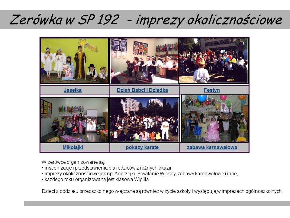 Zerówka w SP 192 - imprezy okolicznościowe W zerówce organizowane są: inscenizacje i przedstawienia dla rodziców z różnych okazji, imprezy okolicznośc