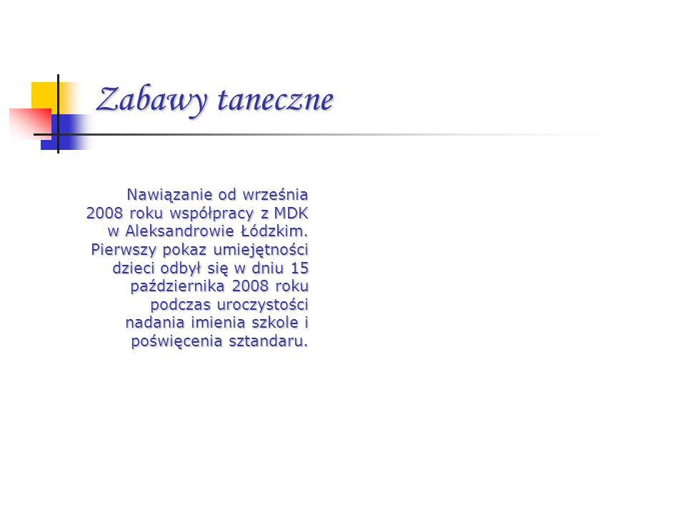 Zabawy taneczne Nawiązanie od września 2008 roku współpracy z MDK w Aleksandrowie Łódzkim. Pierwszy pokaz umiejętności dzieci odbył się w dniu 15 paźd