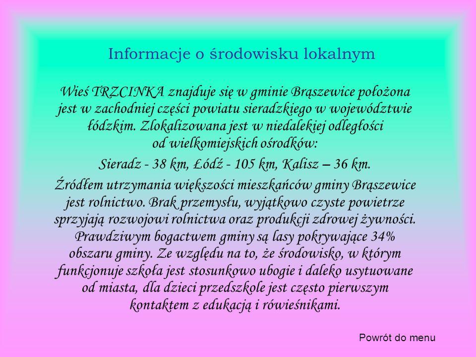 Informacje o środowisku lokalnym Wieś TRZCINKA znajduje się w gminie Brąszewice położona jest w zachodniej części powiatu sieradzkiego w województwie łódzkim.