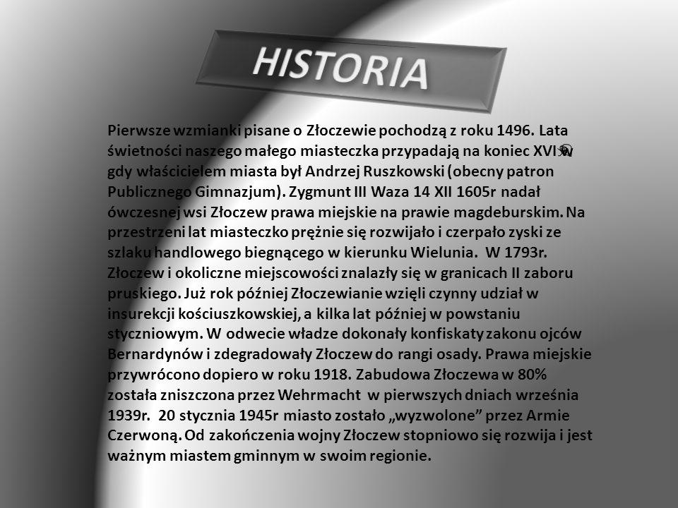 Pierwsze wzmianki pisane o Złoczewie pochodzą z roku 1496.