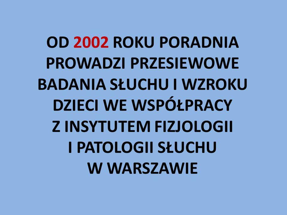 OD 2002 ROKU PORADNIA PROWADZI PRZESIEWOWE BADANIA SŁUCHU I WZROKU DZIECI WE WSPÓŁPRACY Z INSYTUTEM FIZJOLOGII I PATOLOGII SŁUCHU W WARSZAWIE