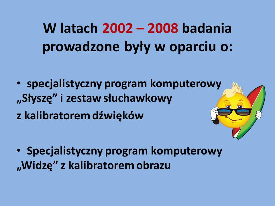 W latach 2002 – 2008 badania prowadzone były w oparciu o: specjalistyczny program komputerowy Słyszę i zestaw słuchawkowy z kalibratorem dźwięków Spec