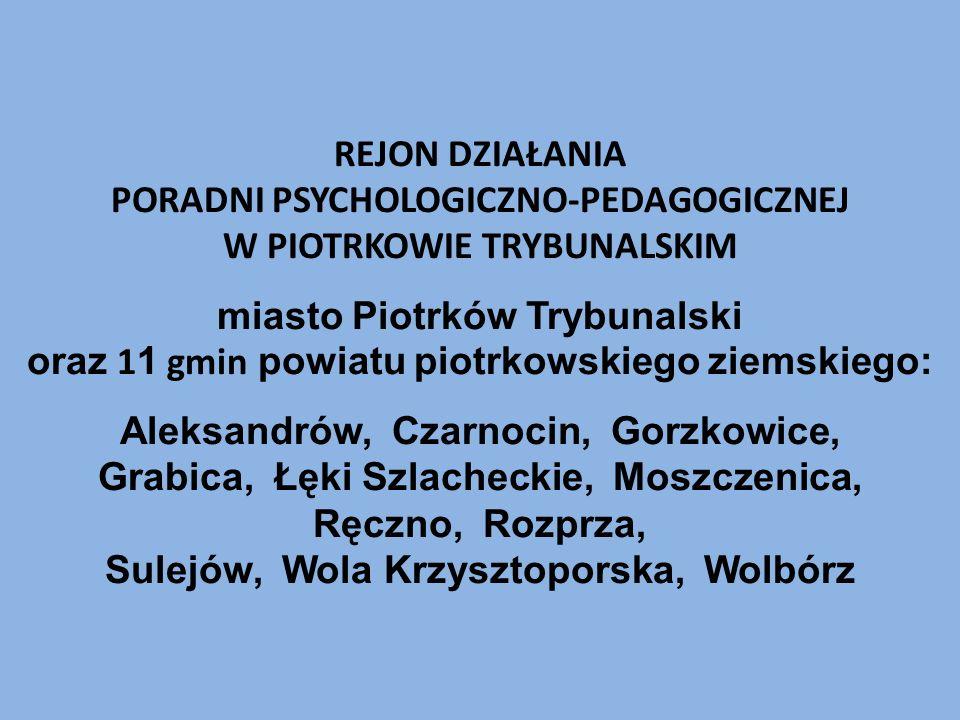 REJON DZIAŁANIA PORADNI PSYCHOLOGICZNO-PEDAGOGICZNEJ W PIOTRKOWIE TRYBUNALSKIM miasto Piotrków Trybunalski oraz 1 1 gmin powiatu piotrkowskiego ziemsk