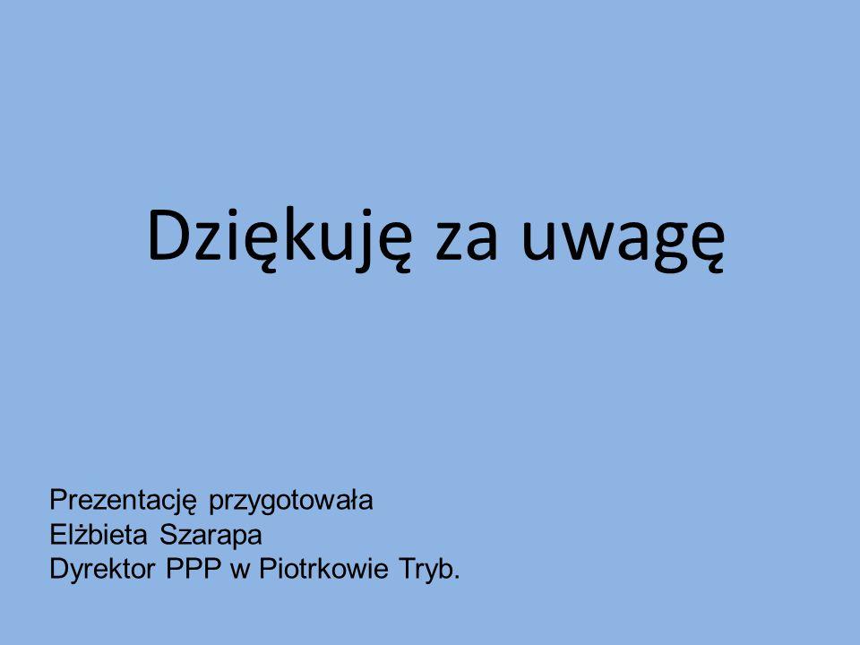 Dziękuję za uwagę Prezentację przygotowała Elżbieta Szarapa Dyrektor PPP w Piotrkowie Tryb.